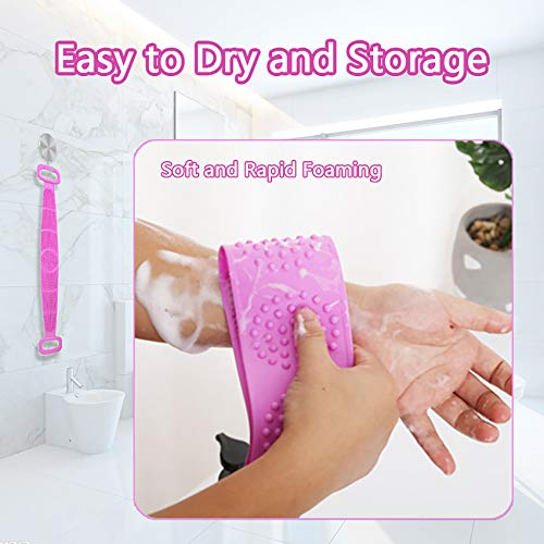 Silicone Body Scrubber, cshare Back Scrubber for Shower for Men Women Exfoliating, Comfortable Massage Silicon Bath Body Brush for Shower, Eco Friendly Hygienic Skin Health Washer (Purple)