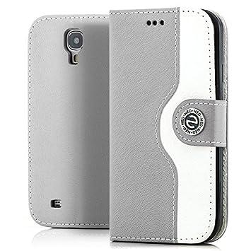 Saxonia Funda Samsung Galaxy S4 Cubierta Carcasa Protectora Elegante con Ranura para Tarjeta Billetera | Gris-Blanco