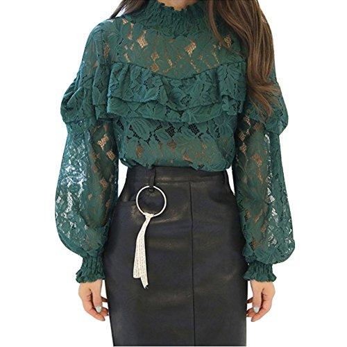 Autumn Ladies Korean Fashion Hollow out Lace Chiffon Tops - 8