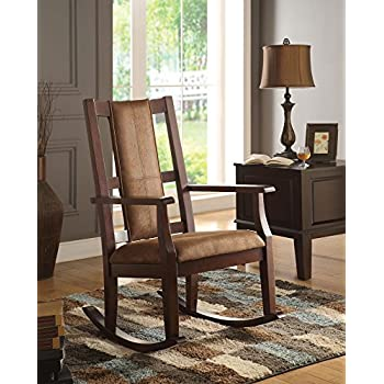 ACME Furniture 59378 Butsea Rocking Chair, Brown Fabric/Espresso