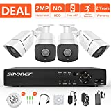 [FULL HD] 1080P Security Camera System,SMONET 4 Channel Outdoor/Indoor Surveillance System(DVR Kits),4pcs 2MP Weatherproof Security Cameras,Night Vision,P2P,Free APP,Remote View,NO Hard Drive