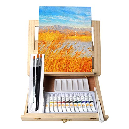 Tavolozza Wooden Mixed Media Art Set Easel Painting Kit with Wood Table Desk Top Easel Box Include Painting Board