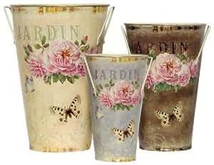 "Tin Decoupage Stem Vases, Set of 3 - 8""Lx11.5""H - Jardin"