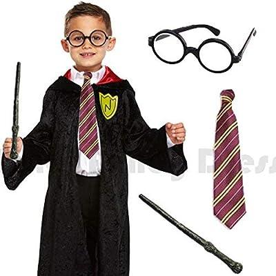 CHILDRENS KIDS BOYS DELUXE WIZARD ROBE TIE WAND GLASSES FANCY DRESS COSTUME