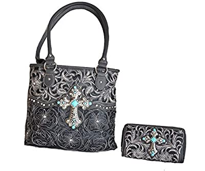 western floral leaf stitched embroidered turquoise cross rhinestone purse set