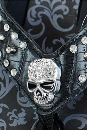 (LCOLETTE Western Skull Inspired Rhinestones Flip Flop FS050 Black (Size 9))