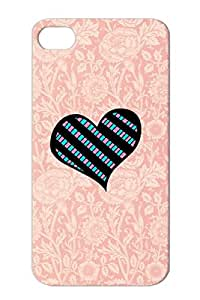 Checkered Heart 1 Pink Cover Case For Iphone 4 Hearts Love CHECKERED HEART