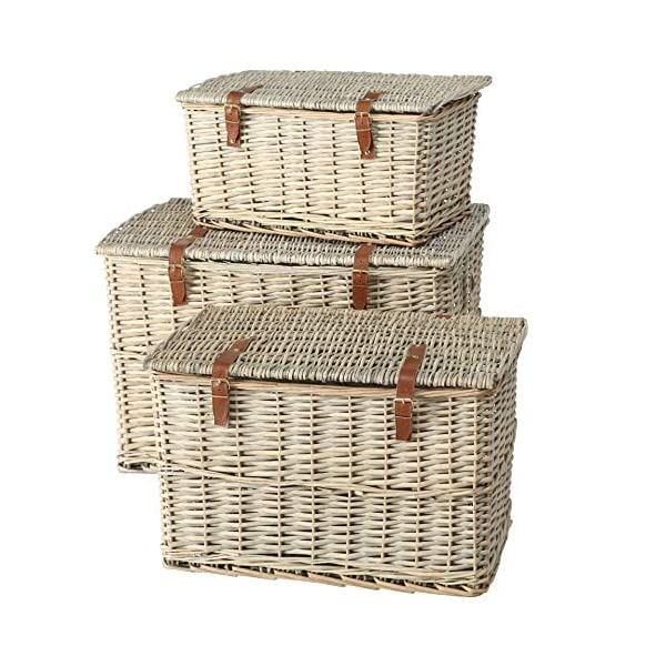 Cape Cod Wicker Trunks, Set of 3, Woven Rattan, Faux Leather Straps and Handles, Storage and Blanket Chests, Various…