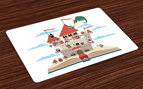 Lunarable Castle Place Mats Set of 4, Pop up Book Themed Illustration with Castle Important Medieval and a Dragon, Washable Fabric Placemats for Dining Room Kitchen Table Decor, Multicolor