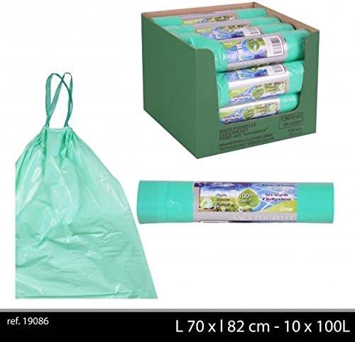 100 bolsas de basura 100 litros Biodegradable verde con alambre ...