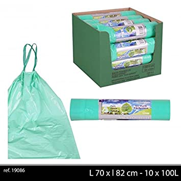 100 bolsas de basura 100 litros Biodegradable verde con ...