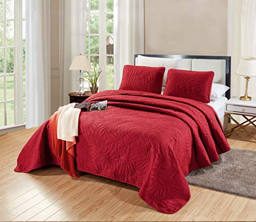 GrandLinen 3-Piece Bedding Savannah Quilt Set Solid Burgundy Red Oversize Queen Size 106