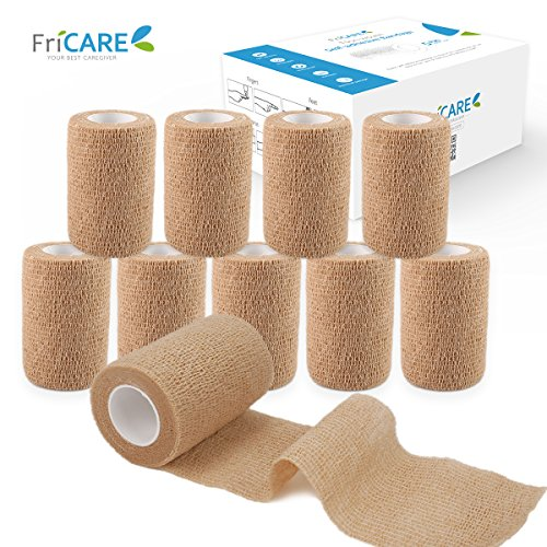 FriCARE Nonwoven Self-adhesive Bandage, Self Adherent Cohesive Stretch First Aid Wrap (With FDA), Sports Medical Tape, 3