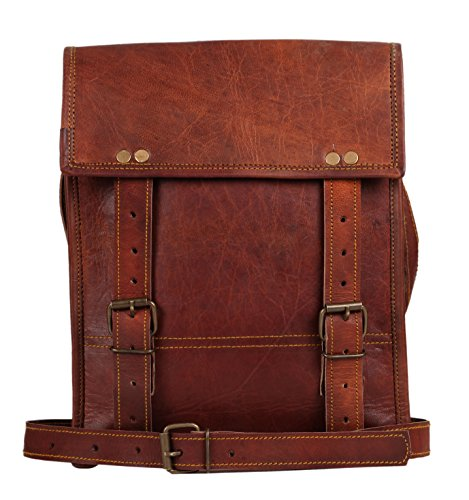 11 Inch Leather Vintage Rustic Crossbody Messenger Courier Satchel Bag Gift Men Women ~ Business Work Briefcase Carry IPad Book ~ Handmade Rugged  Di…