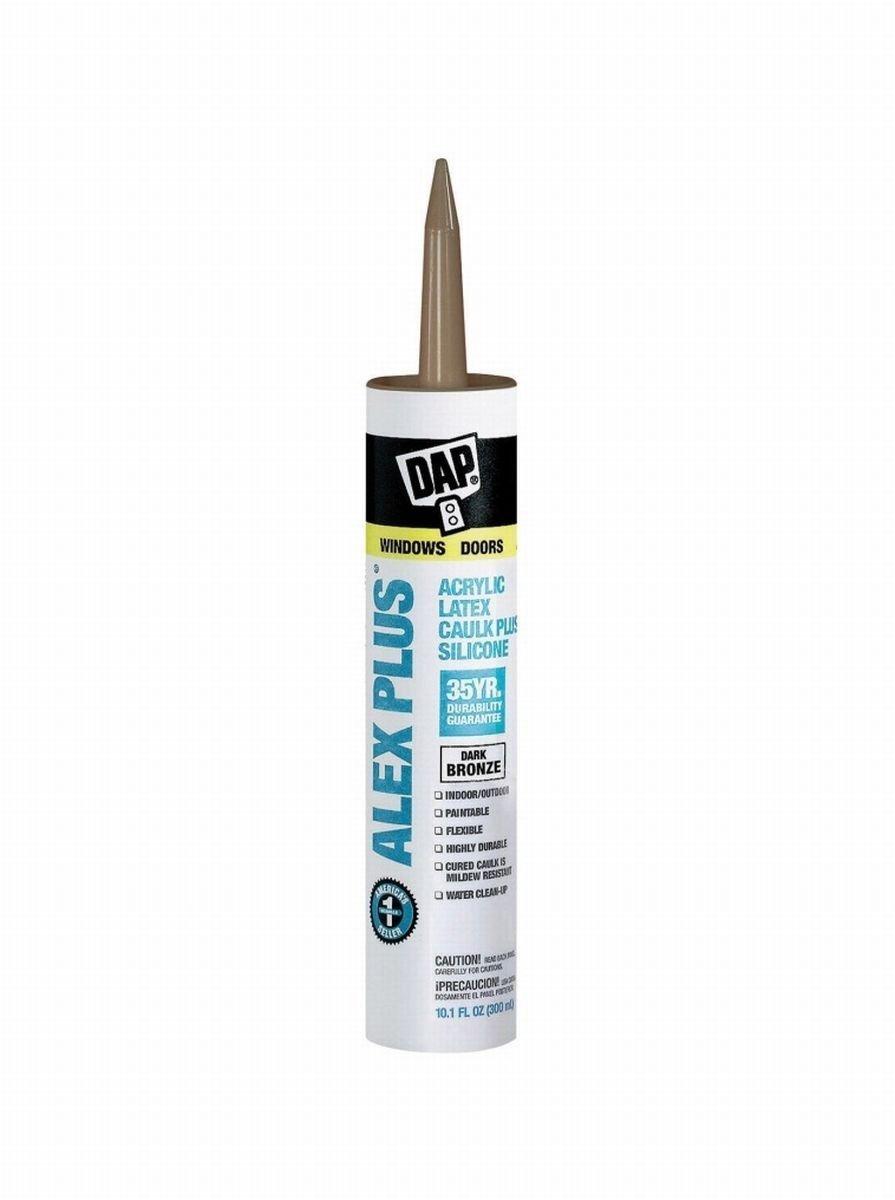 Dap 18124 12 Pack 10.1 oz. Alex Plus All Purpose Acrylic Latex Adhesive Caulk, Dark Bronze by DAP