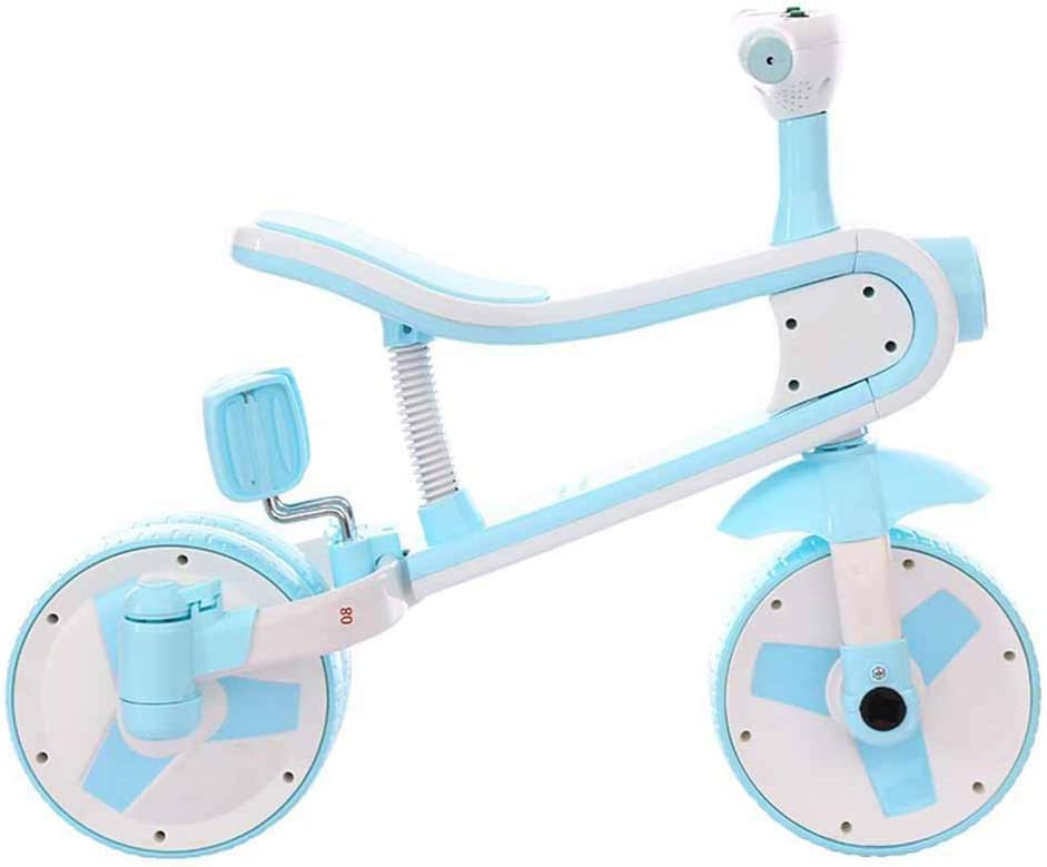 Triciclo, Triciclo del bebé Empuje, Kids First Bicicletas, Cochecito for niños, Cochecito deformable, 2 Ruedas en 3 Ruedas, con música y Luces, de Niño de Bicicletas, Rojo ZHANGKANG