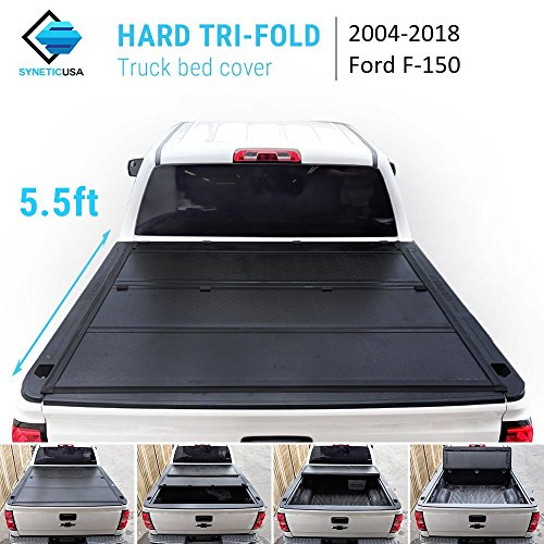 Syneticusa 2004-2018 Ford F-150 F150 New 2nd Generation Lock Hard Solid Tri-Fold Tonneau Cover Truck Cargo Bed Cover Locking Aluminum (5.5ft Short Bed) ()