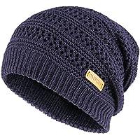 OMECHY Unisex Slouchy Beanie Hats Winter Warm Knit Skull Fleece Ski Cap 4 Color