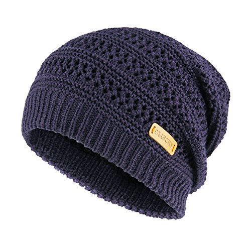 Beanie Mens Cap (OMECHY Slouchy Beanie Hats Unisex Daily Knit Skull Cap Winter Warm Fleece Soft Baggy Hat Ski Cap, Navy)