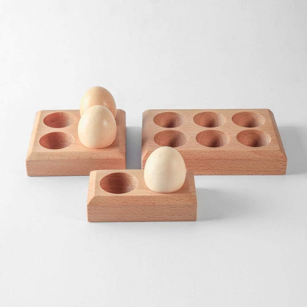 Bandeja de almacenamiento de huevos de madera para 6 huevos pr/áctica bandeja de almacenamiento de huevos pr/áctica para el hogar y la cocina