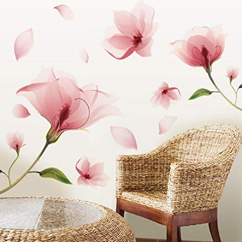 Sworna Nature Series 36 x 80-Inch 3D Pink Flowers Removable Vinyl Mural Wall Decal, Pink/Green