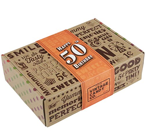 VINTAGE CANDY CO. 50TH BIRTHDAY RETRO CANDY GIFT BOX - 1968 Decade Nostalgic Childhood Candies - Fun Gag Gift Basket For Milestone FIFTIETH Birthday - PERFECT For Man Or Woman Turning 50 Years Old