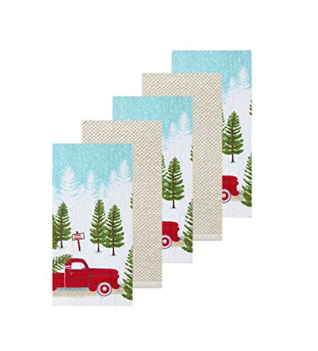 Christmas Kitchen Towel 5 Pack Red Pickup Truck and Pine Trees Scene