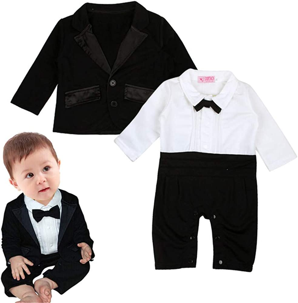 for Baby Infant Boy Long Sleeve Gentleman Suit Blazer and Jumpsuit with Bow Tie Clothing Set