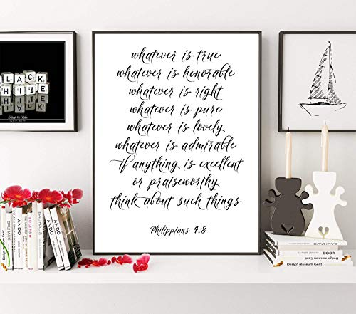 Wendore Whatever is True Noble Right Philippians 48 Bible Verse Whatever is Lovely Bible Verse Print Scripture Decor Print Framed Wall Art