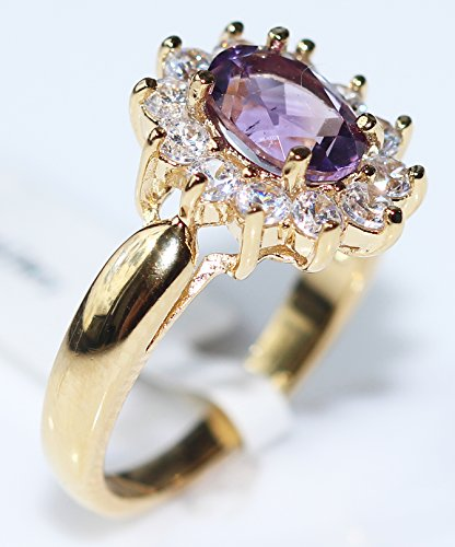 Ah! Jewellery Ladies Stunning 8mm x 6mm GENUINE 1.45CT AMETHYST Ring. Gold Filled. UK Guarantee: 3µ / 10 years. 3.6GR.