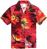 Boy Hawaiian Aloha Luau Shirt and Shorts 2 Piece Cabana Set in Red Sunset