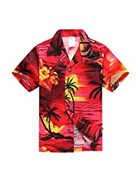 Boy Hawaiian Aloha Luau Shirt and Shorts 2 Piece Cabana Set in Red Sunset