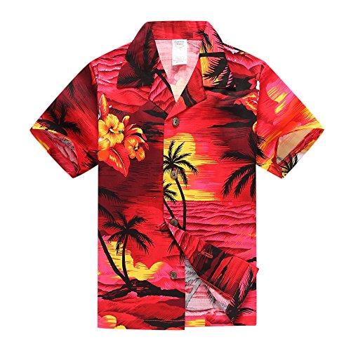Boy Hawaiian Aloha Luau Shirt Only in Red Sunset  L - Sunset Hawaiian Shirt