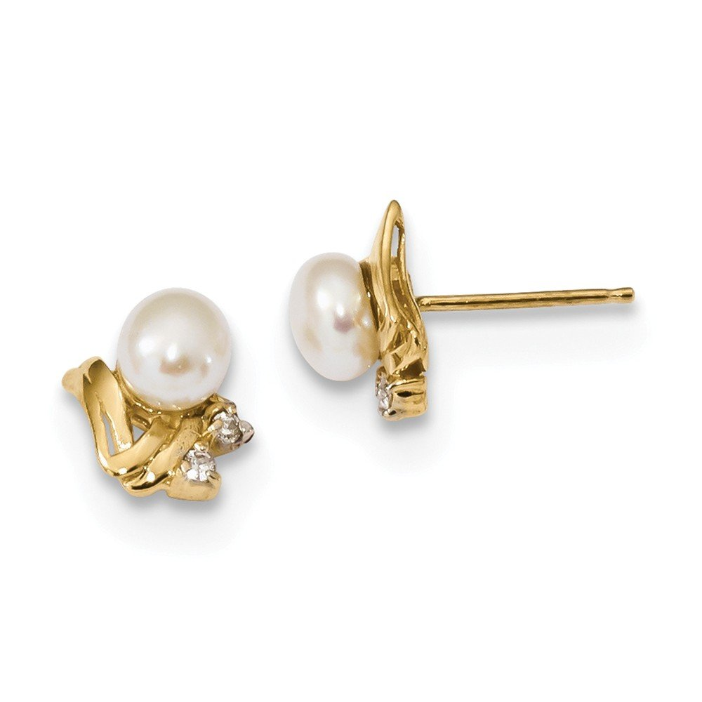 14K Yellow Gold 5-6mm Diamond & White Button Freshwater Cultured Pearl Post Earrings