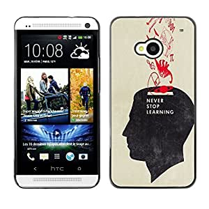 Colorful Printed Hard Protective Back Case Cover Shell Skin for HTC One M7 ( Never Stop Learning School Teacher )