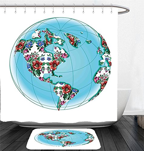 Nalahome Bath Suit: Showercurtain Bathrug Bathtowel Handtowel World Map Planet Earth Covered by Victorian Floral Pattern Flourishing Ecology Illustration Aqua Ruby