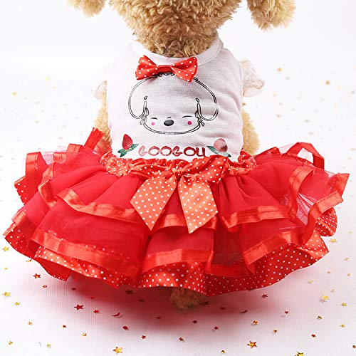(Pet Apparel Bowknot Letter Print Gauze Puppy Princess Tutu Dress Sweetie Dog Cat Clothes (M, Red))