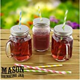 12 Set Mason Glass Drinking Jar With Handle, Lid, Screw Cap And Straw by Super TV Products