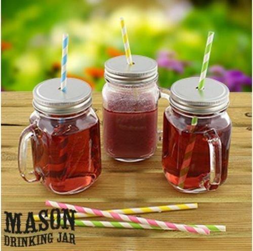 12 Set Mason Glass Drinking Jar With Handle, Lid, Screw C...