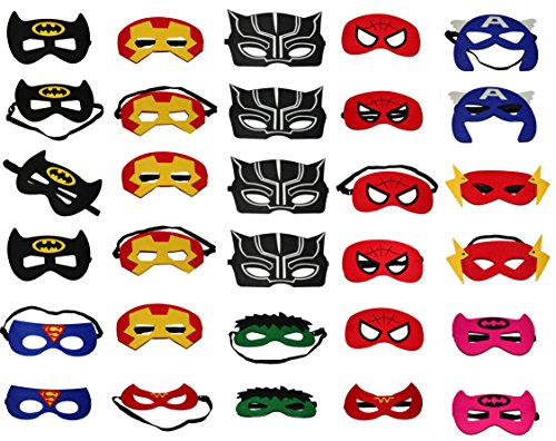 ORIONDUST 30 Superhero Masks for Party Favors - 30 Pieces Character Made of Felt for Adults & Kids