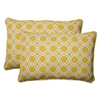 Pillow Perfect Indoor/Outdoor Rossmere Corded Oversized Rectangular Throw Pillow, Yellow, Set of 2 from Pillow Perfect