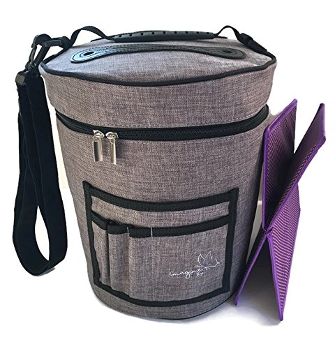 BEST Crochet Yarn Storage Bag Organizer with Divider for Crocheting & Knitting Organization. Portable Travel Yarn Holder Tote. Zip Bin with Pockets for Knitter Accessories. Storage Organizer Bag