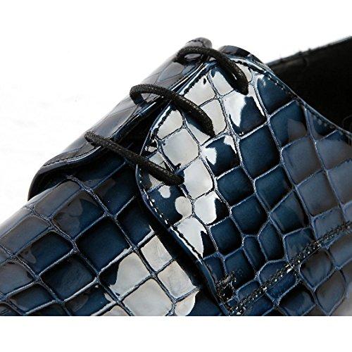 Tacco Spesso Stringate Scarpe Appuntito Bello Moda Black Splendido NIUMT Colore Comfort x04YW