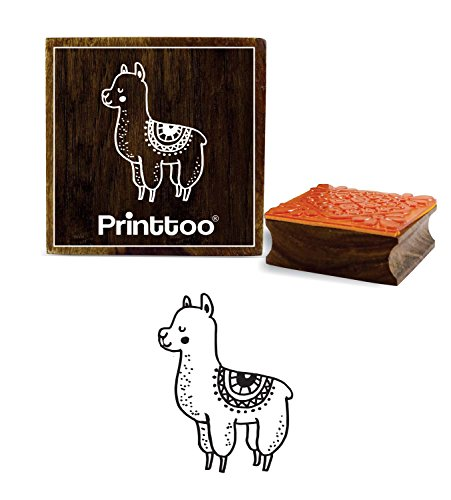Printtoo Llama Animal Design Square Wooden Rubber Stamp Scrap-Booking Block-2 x 2 inches