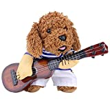 Pet Guitar Player Costume Pet Christmas Cosplay Dog Cat Funny Dress Puppy Christmas Halloween Party Costume(M)