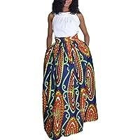 dearlovers Mujer Africana Floral impresión Casual una línea Maxi Falda