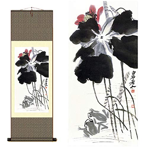 Sunmir (TM Silk Scroll Painting Chinese Painter Qi Baishi Ink Lotus Painting