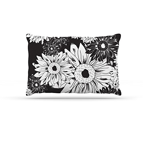 Midnight Florals Large 30\ Midnight Florals Large 30\ Kess InHouse Laura Escalante Midnight Florals  Black Sunflower Dog Bed, 30 by 40-Inch