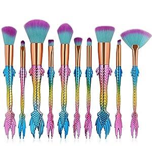 Mermaid Makeup Brush Set, Coshine 10pcs Rainbow Unique Mermaid Makeup Brush Set with Colorful Brushes Pouch, Unicorn Fish Style Foundation Powder Cream Blush Brushes with Cute Brush Bag