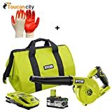 Ryobi 18-Volt ONE+ Lithium-Ion Workshop Blower Kit with 4.0Ah Lithium Plus Battery P1963N and Toucan City Nitrile Dip Gloves(5-Pack)